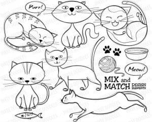 кошки раскраски домашние