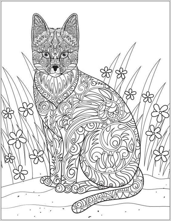 раскраска кошка - Рисовака
