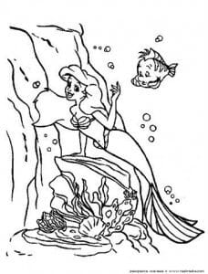 мультфильма русалочка раскраски