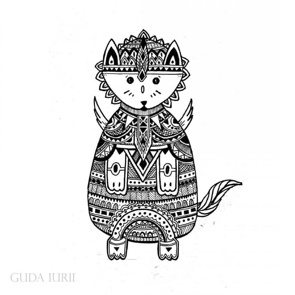 раскраска антистресс для детей кошки - Рисовака