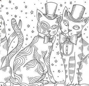 раскраска антистресс распечатать   кошки