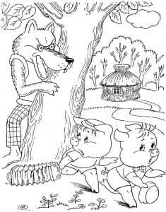 раскраска для детей три поросенка