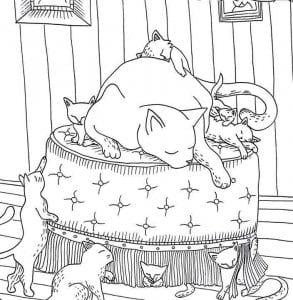 раскраска для девочек животные кошки А4