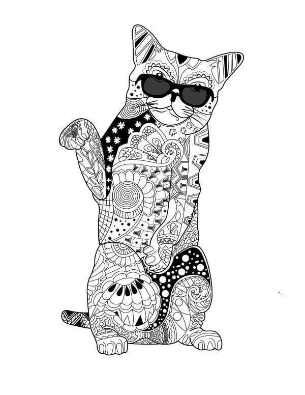 раскраска кошки pdf скачать А4 - Рисовака
