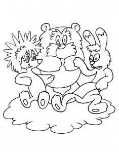 раскраска про ежика и медвежонка