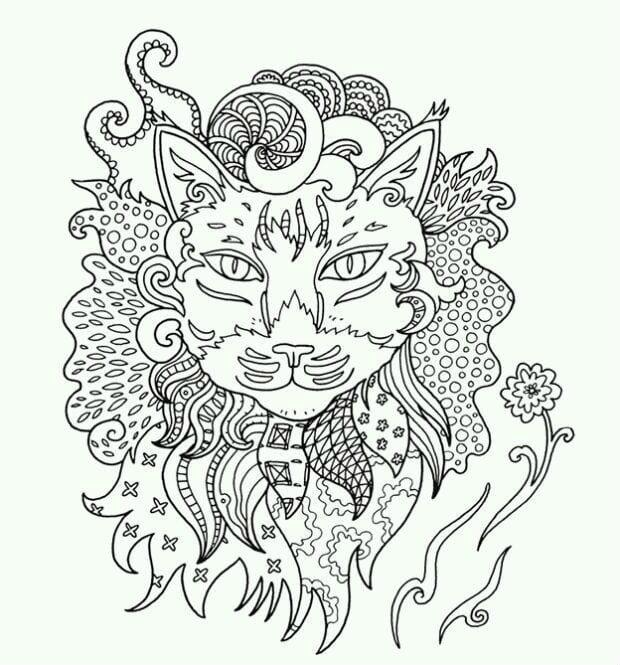 раскраски антистресс коты и кошки а4 рисовака
