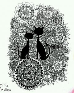 раскраски антистресс животные кошки А4
