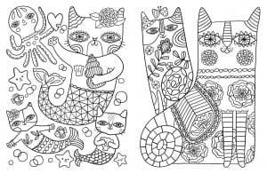 раскраски для девочек антистресс кошки