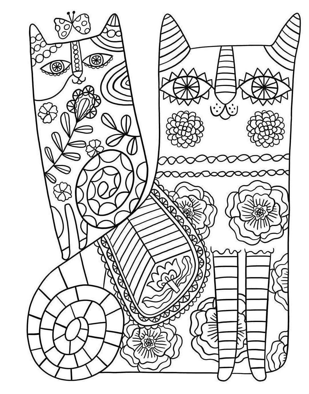 раскраски для девочек кошки распечатать А4 - Рисовака