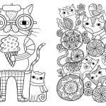 раскраски для взрослых кошки
