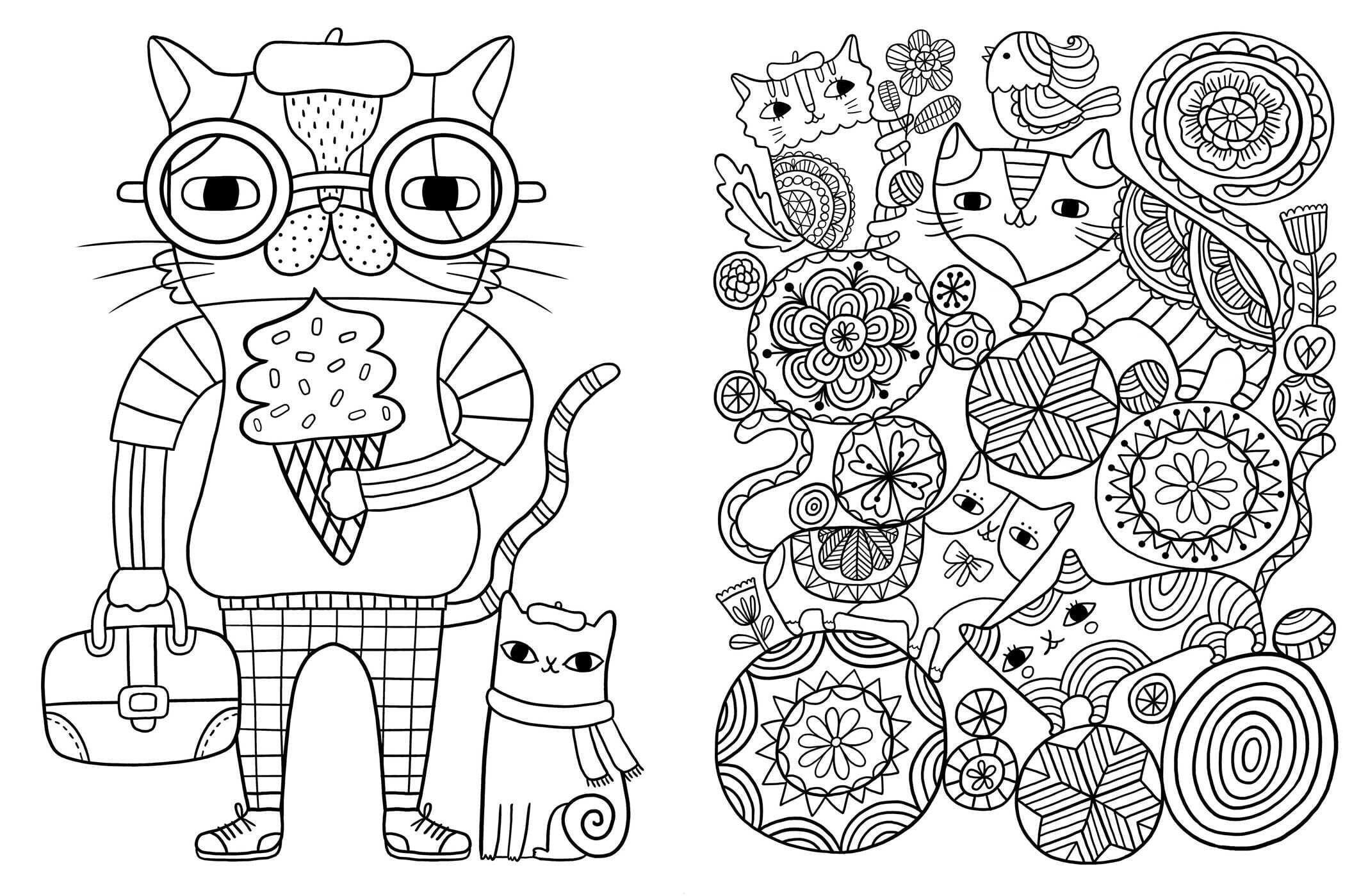 раскраски для взрослых кошки - Рисовака