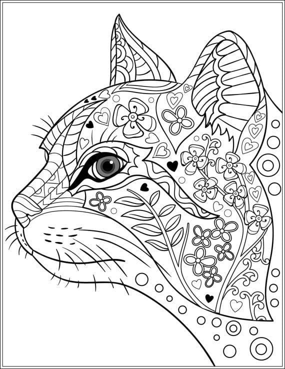 распечатать кошки раскраска антистресс - Рисовака