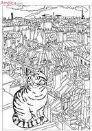 распечатать раскраски антистресс про кошки А4