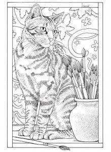 скачать раскраску кошки А4
