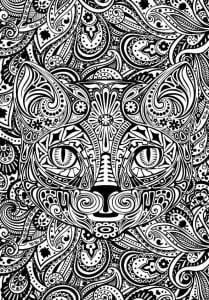 сложные раскраски кошка А4