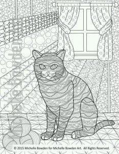 сложные раскраски кошка