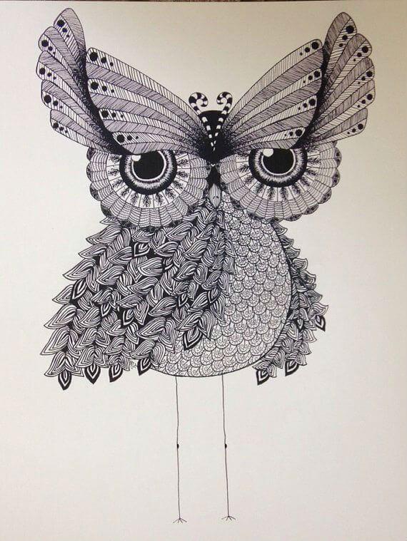 сова раскраска (146) - Рисовака