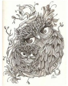 сова раскраска (185)