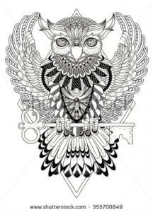 сова раскраска (215)