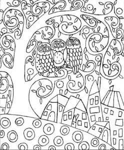 сова раскраска (237)