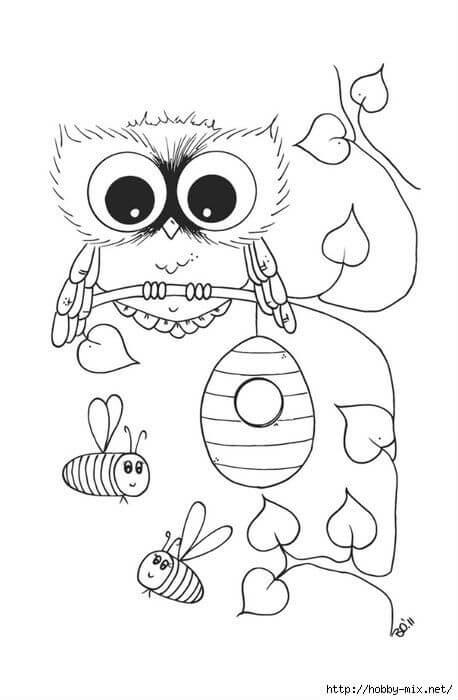 сова раскраска (329)