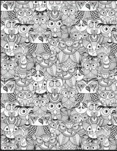 сова раскраска (42)