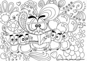 сова раскраска (500)