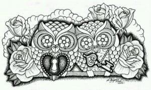 сова раскраска (577)