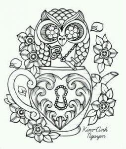 сова раскраска (580)