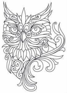 сова раскраска (59)