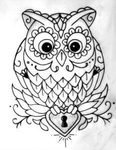 сова раскраска (60)