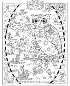 сова раскраска (84)