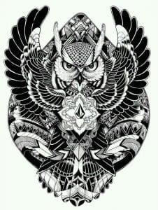 сова раскраска (96)