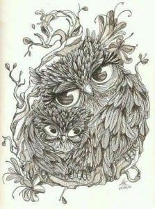 сова раскраска (99)
