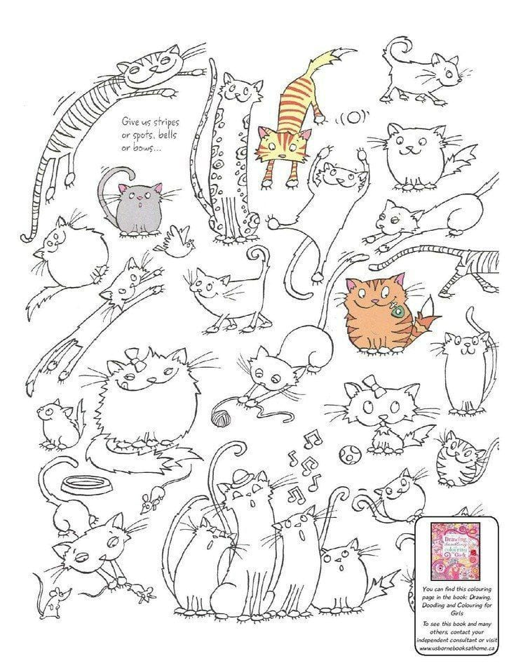 животные кошки раскраски антистресс рисовака