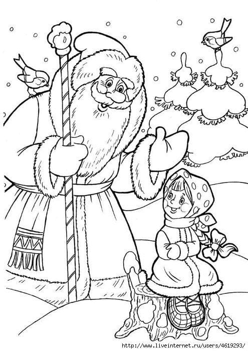 Мороз иванович иллюстрации раскраски к сказке