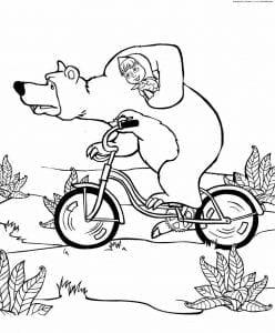 картинки раскраски маша и медведь для детей