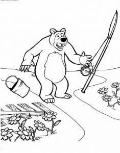 маша и медведь картинки из мультфильма раскраска