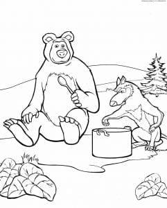 разукрашки маша и медведь бесплатно