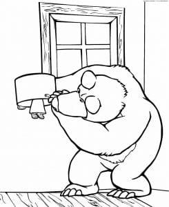 раскраска для детей маша и медведь распечатать