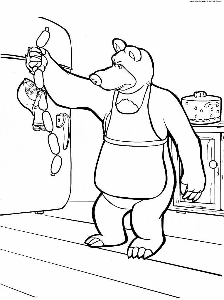 раскраска для детей скачать маша и медведь - Рисовака