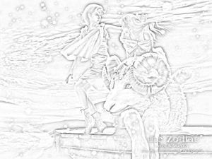 раскраска знак зодиака Овен 6