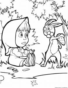 раскраски для девочек распечатать маша и медведь