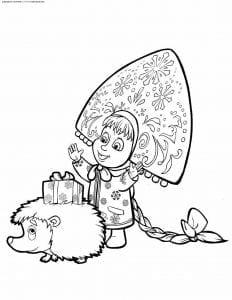 раскраски для малышей маша и медведь распечатать