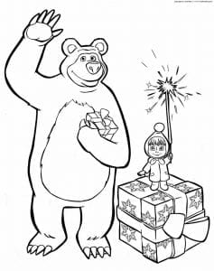раскраски для малышей маша и медведь