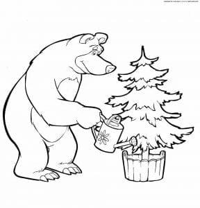 раскраски маши и медведя раскрашивать бесплатно