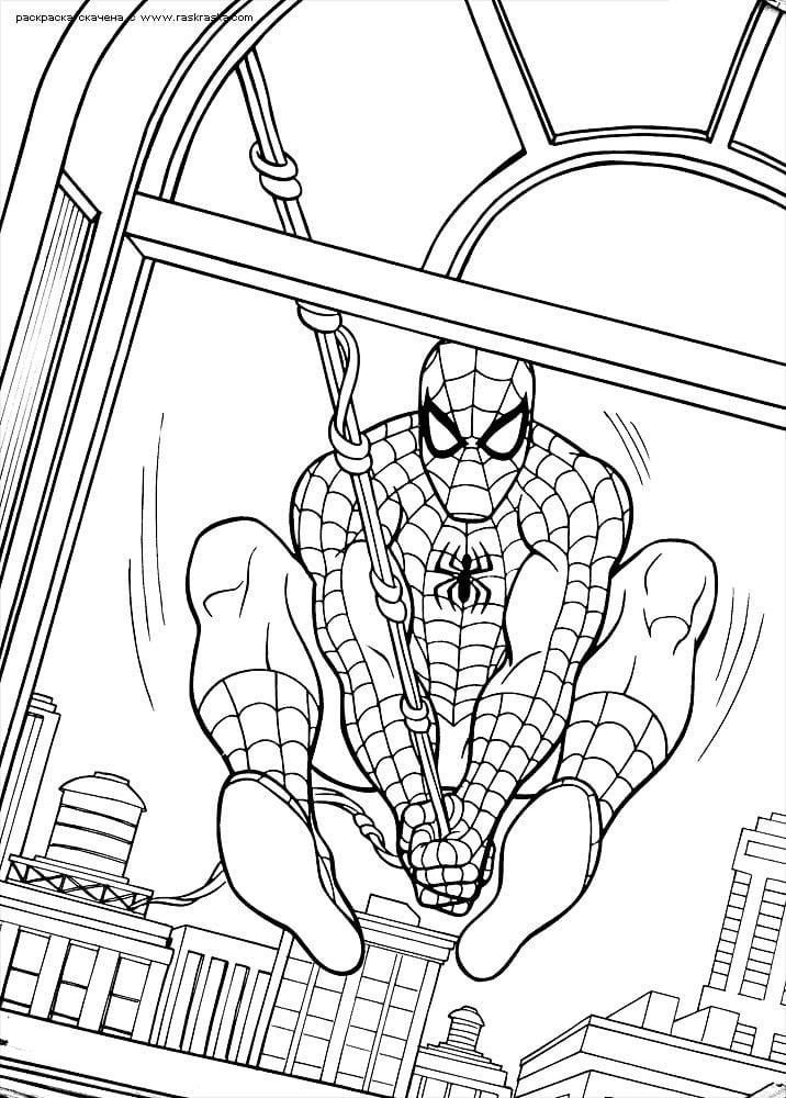 распечатать раскраски человек паук новый - Рисовака