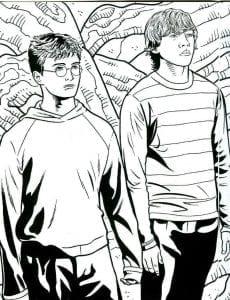 Гарри Поттер и Рон Уизли раскраска