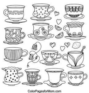 бесплатно для чая картинка раскраска чашка