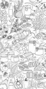 бесплатно еда продукты распечатать раскраски